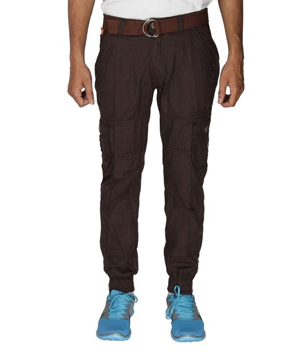 Greentree Mens Brown Cargo Trouser 6 Pocket Cotton Casual Cargo