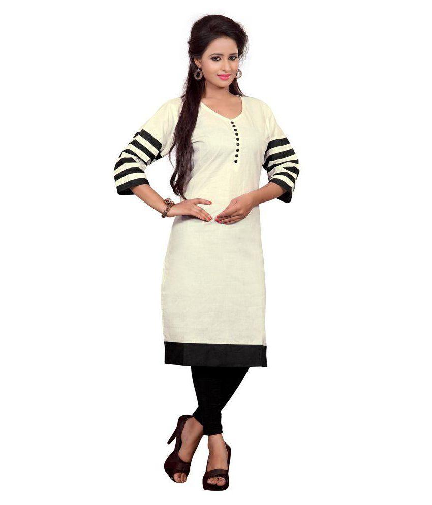 Aarnas Fashion Beige Cotton Straight Kurti