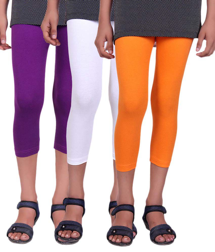 Alisha Multicolour Cotton Lycra Capri - Pack Of 3