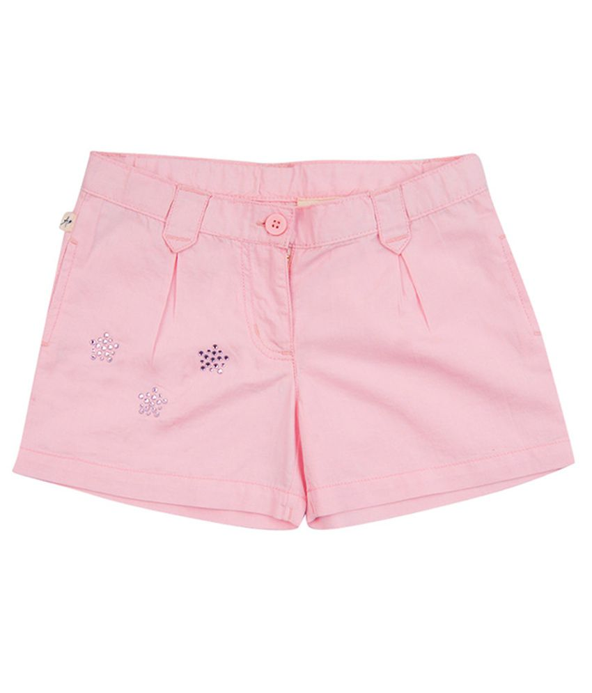 Aristot Pink Cotton Shorts for kids girls