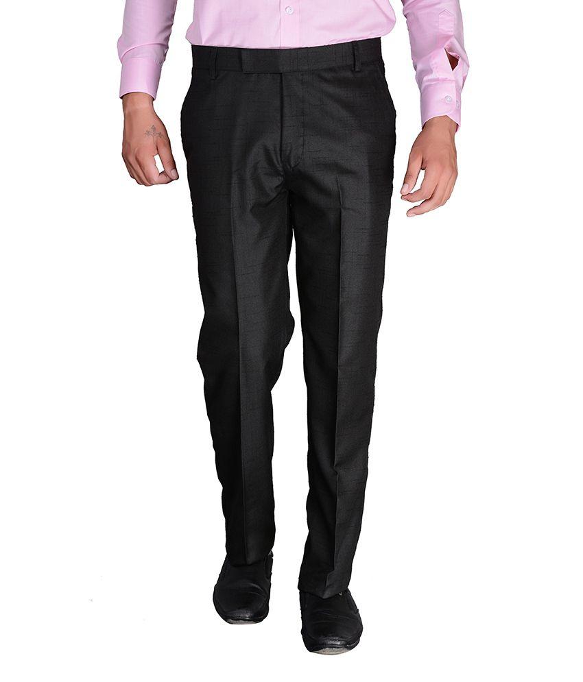 Desert Player Black Slim Fit Flat Trousers