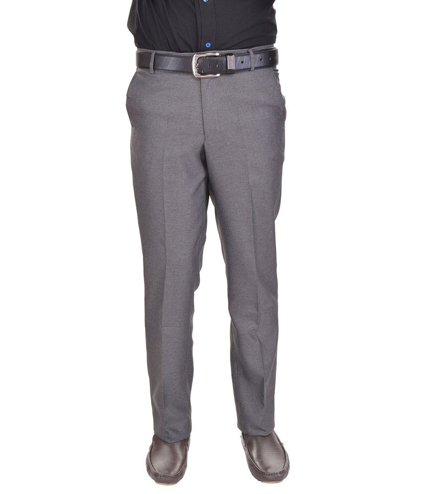 AD & AV Grey Regular Fit Flat Trousers NO