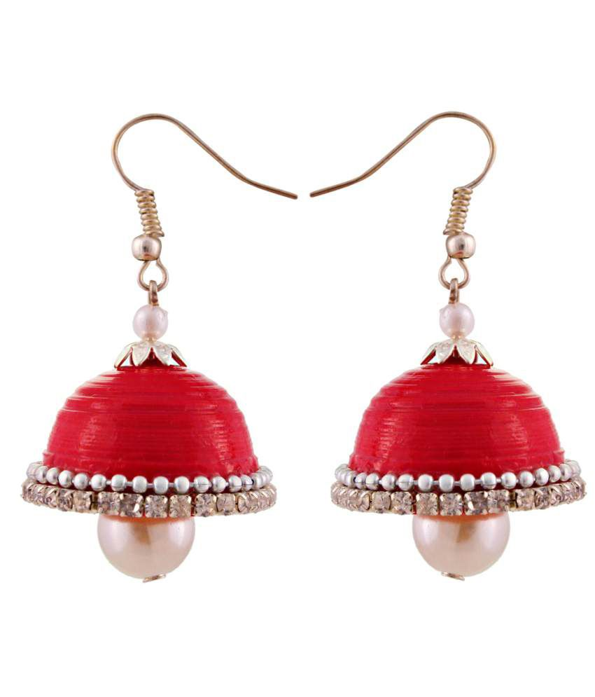 Jaipur Raga Red Acrylic Jhumki Earrings