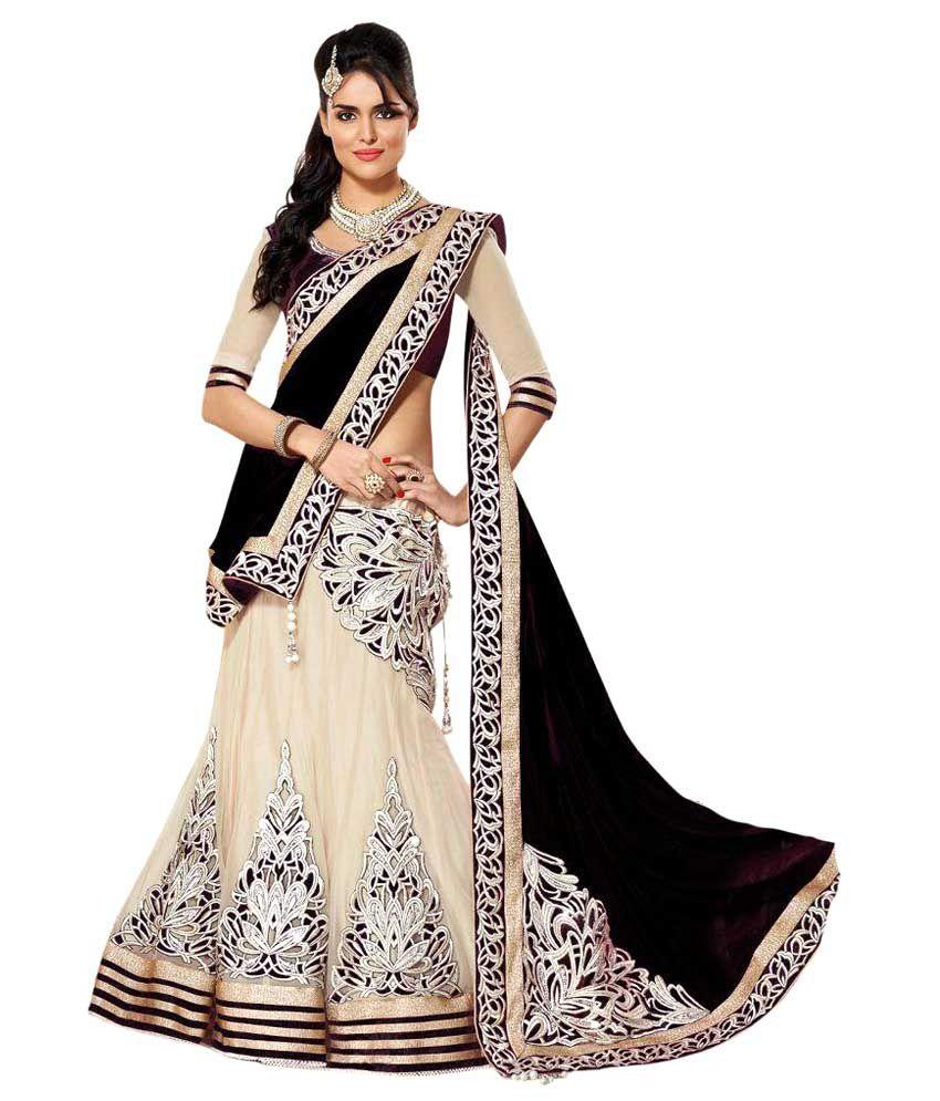Apka Apna Bazaar Beige Net Semi Stitched Lehenga - Buy Apka