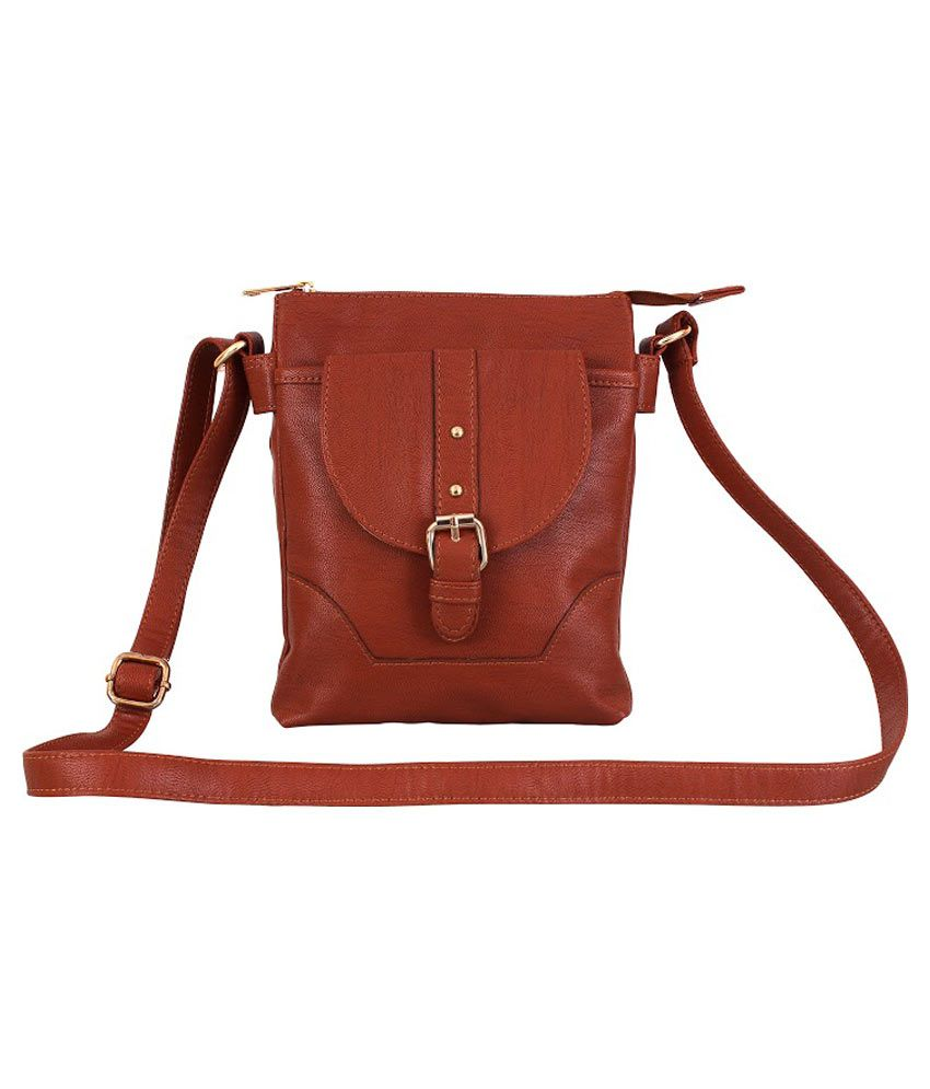 Lychee Bags Maroon Faux Leather Sling Bag