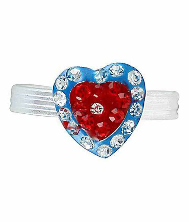 Memoir Silver plated Heart shape CZ studded Blue Meenakari Toe Ring