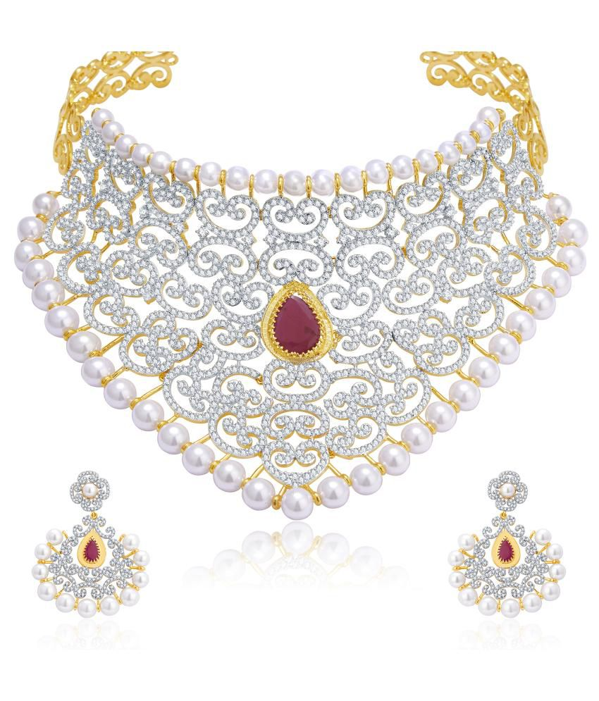 Sukkhi Gold And Rhodium Plated Ruby CZ Neklace Set