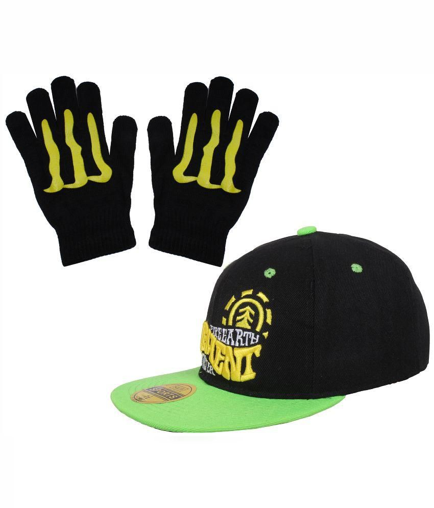 Sushito Black Polyesster Baseball Cap with Hand Gloves