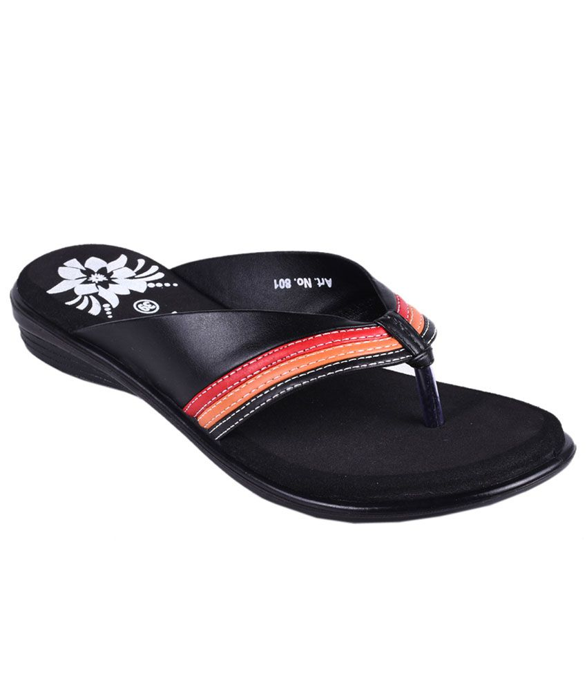 Trilokani Black Slippers