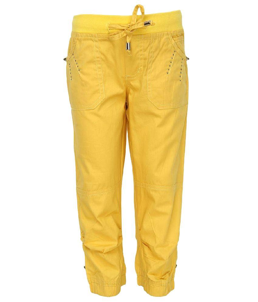 Cool Quotient Yellow Cotton Capris
