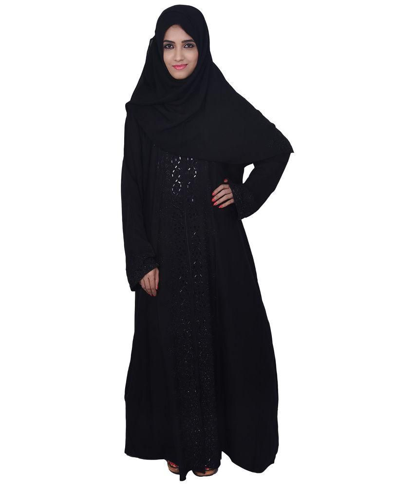 dubai abaya black georgette stitched burqas with hijab price in rh snapdeal com
