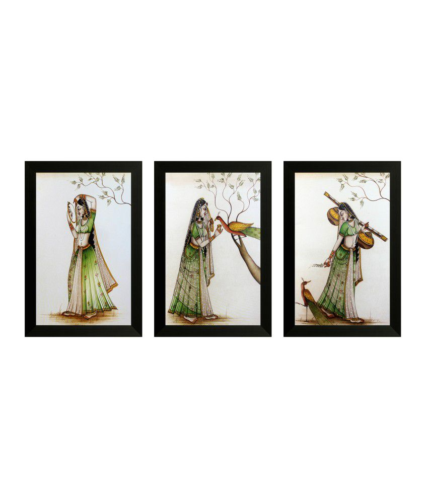 SAF Textured Art Print With Wooden Frame - Set Of 3