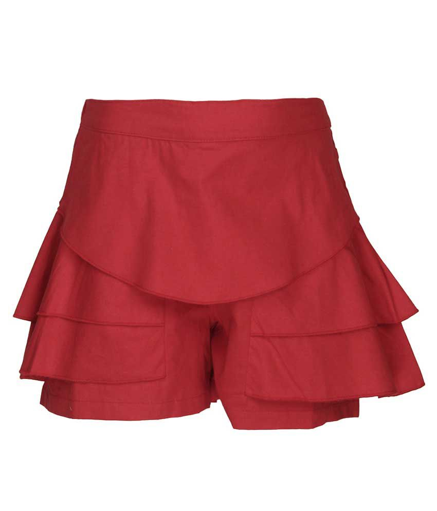 Cool Quotient Red Shorts For Girls
