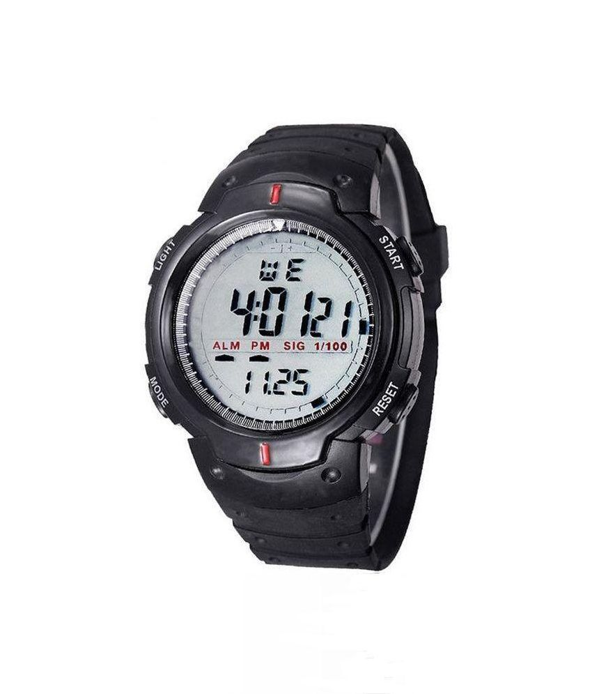 digital w uzi campco black product watches sports gunmetal face rectangular watch