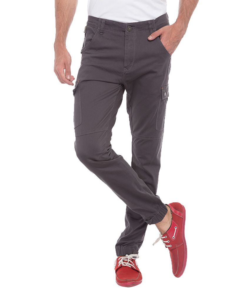 Spykar Grey Slim Fit Cargo