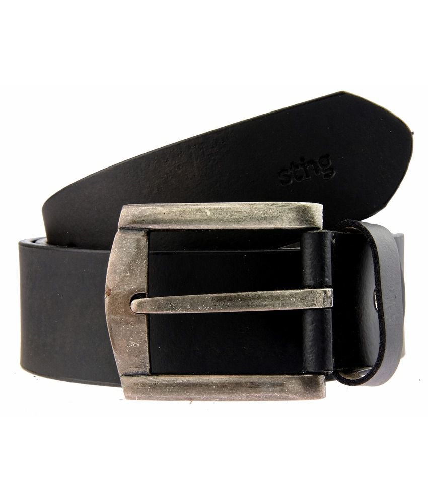 Sting Black Leather Pin Buckle Belt for Men