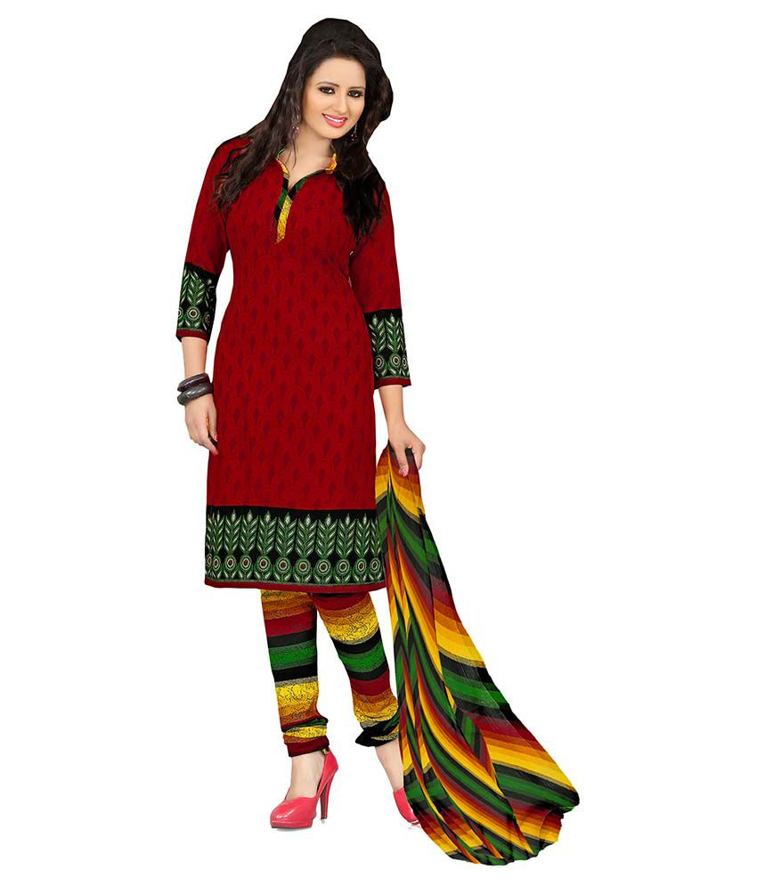 1e17fc6528 Women Latest Fancy Designer Salwar Suit Red and Green Crepe Straight  Unstitched Printed Party Wear Dress Material - Buy Women Latest Fancy  Designer Salwar ...
