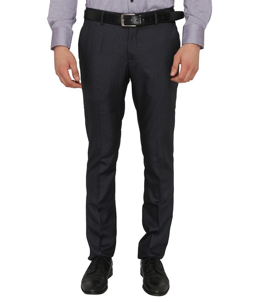 Donear NXG Black Slim Fit Flat Trousers