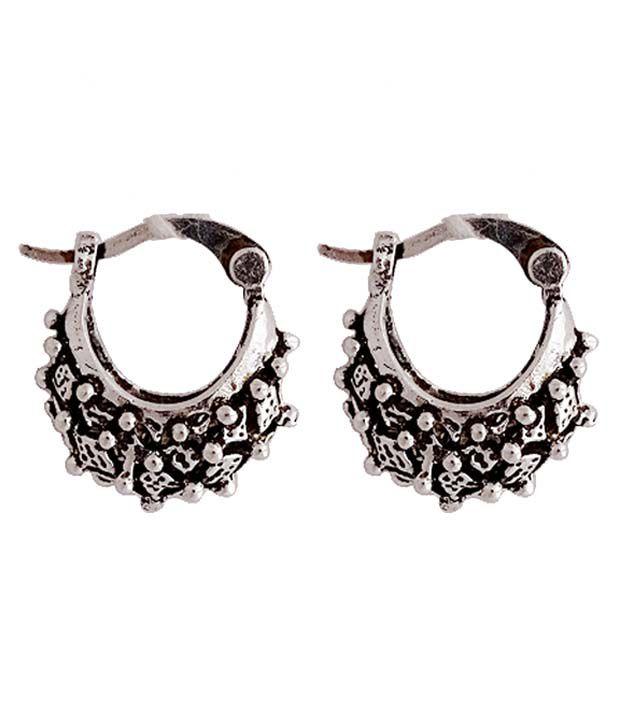 Gems N Pearls Silver Copper Hoop Earrings