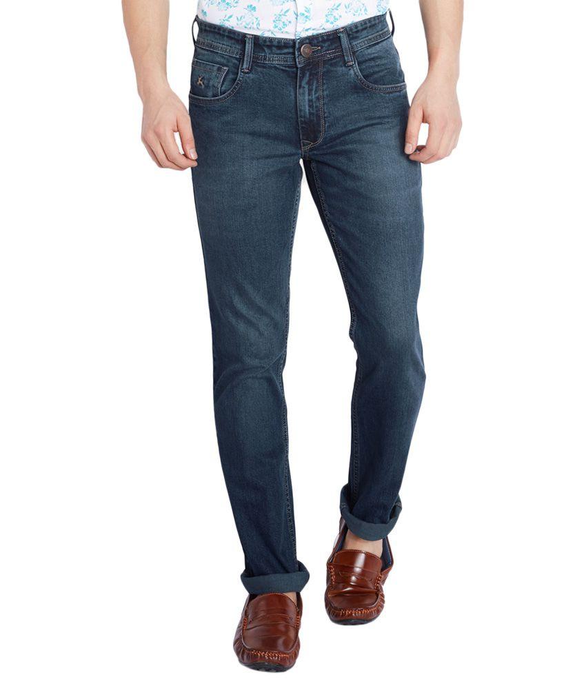 Parx Blue Slim Tapered Fit Jeans