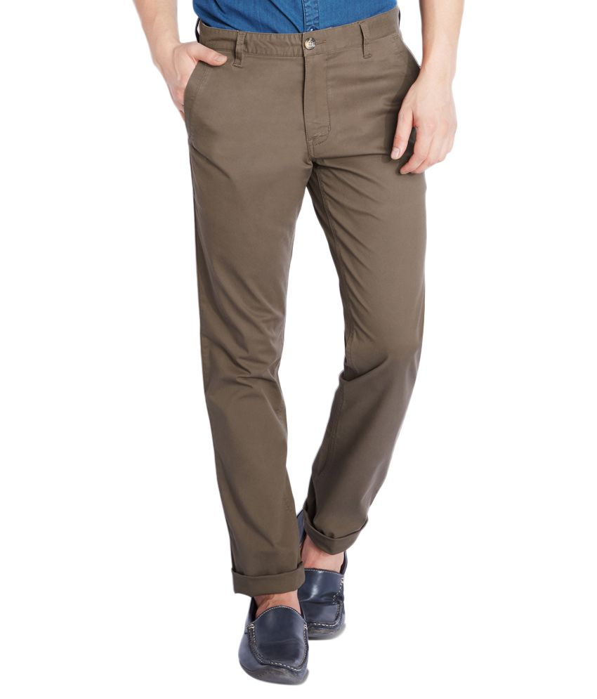 Parx Brown Tapered Fit Casual Trousers