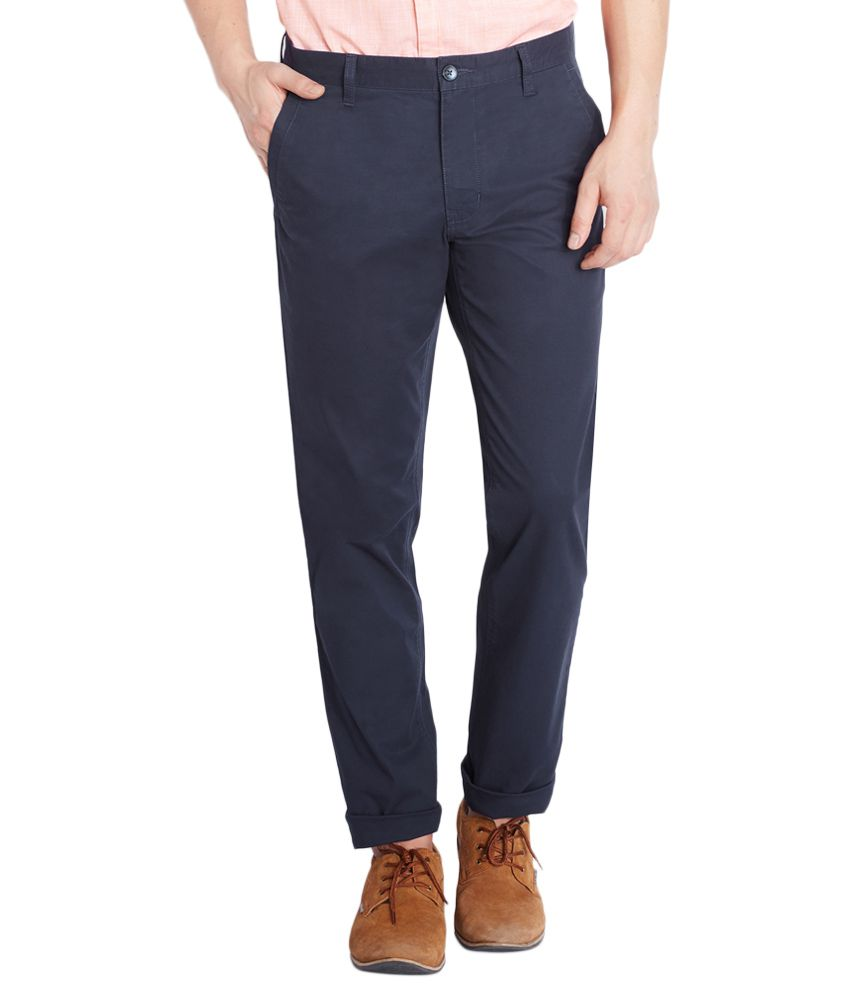 Parx Navy Tapered Fit Casual Trousers