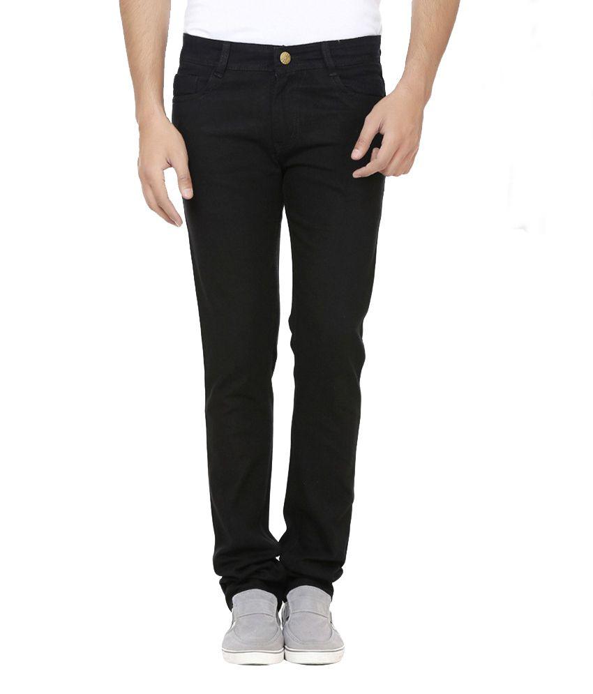 D-Rock Black Regular Fit Solid Jeans