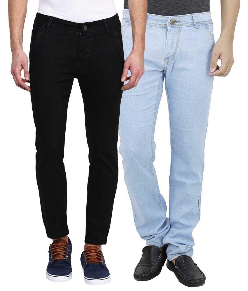 Haltung Multi Slim Fit Solid Jeans Pack of 2