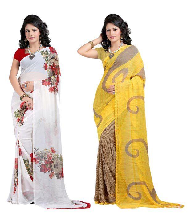 Madhu Designer Sarees Multicoloured Georgette Saree Combos