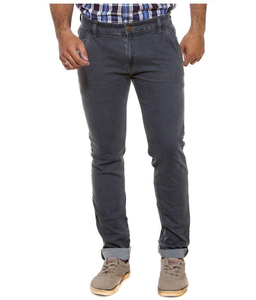 Semicollon Grey Slim Fit Solid Jeans