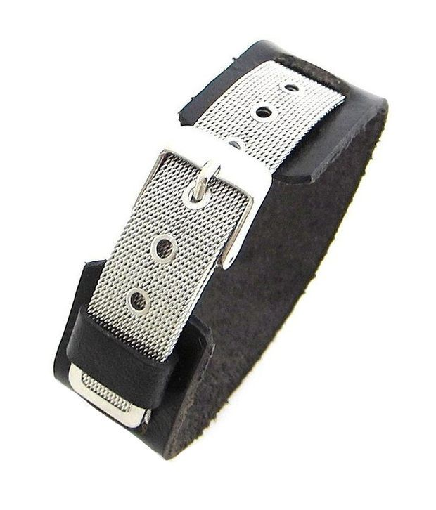 The Jewelbox Stainless Steel Strap Over Genuine Black Leather Bracelet Free Size
