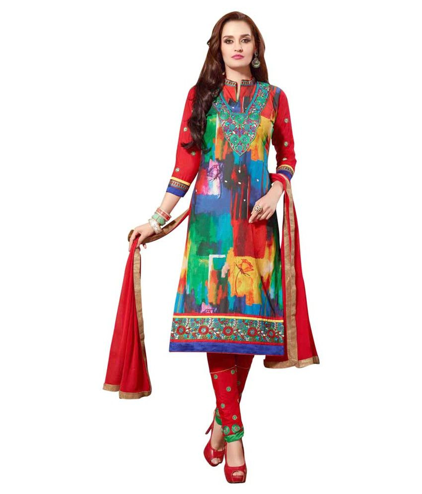 Varayu Multicoloured Cotton Straight Unstitched Dress Material
