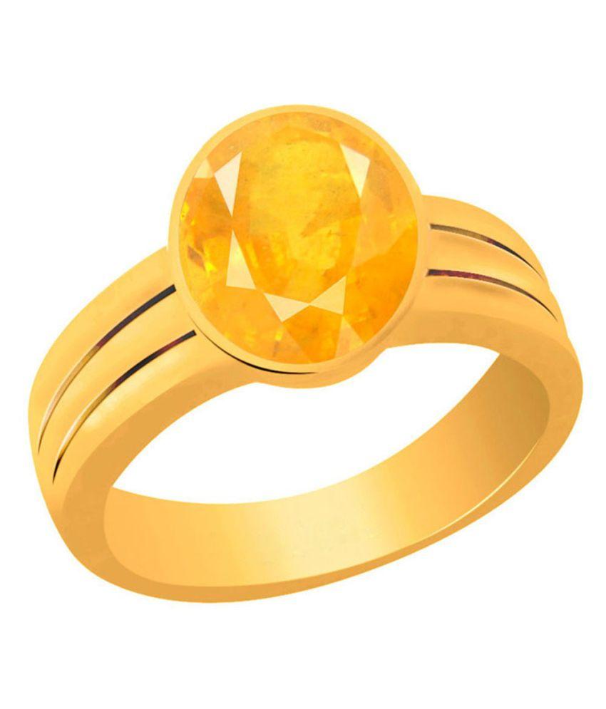 Clara Yellow Sapphire Pukhraj 4.8 Carat (5.25 Ratti) Panchdhatu Gold Plated Astrological Ring