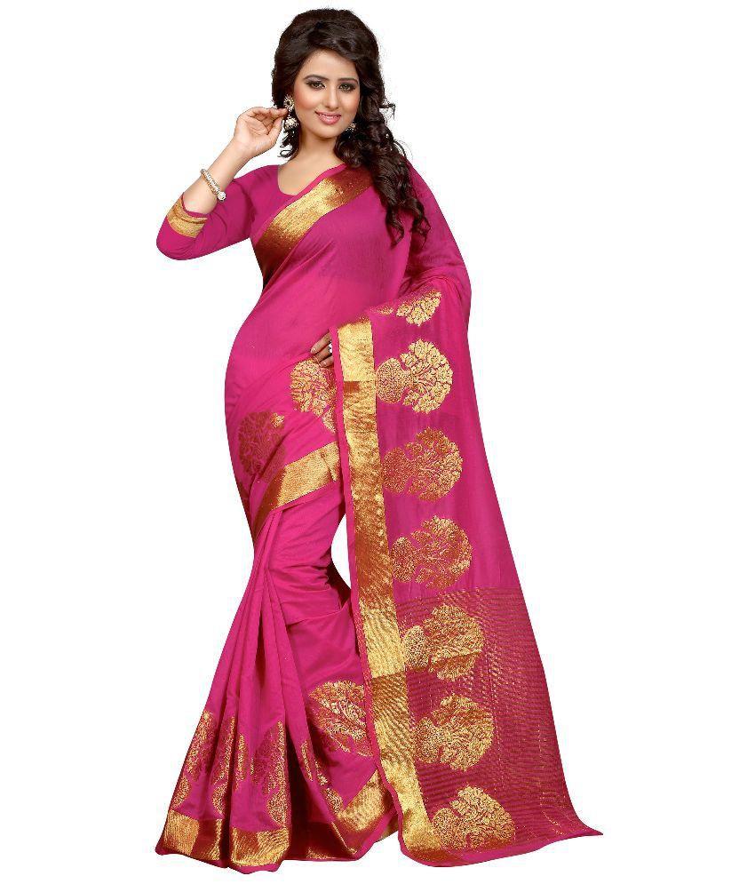 FAB ROYAL Pink Cotton Saree