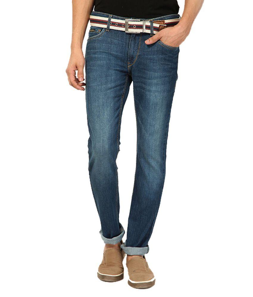 Flying Machine Blue Regular Fit Solid Jeans