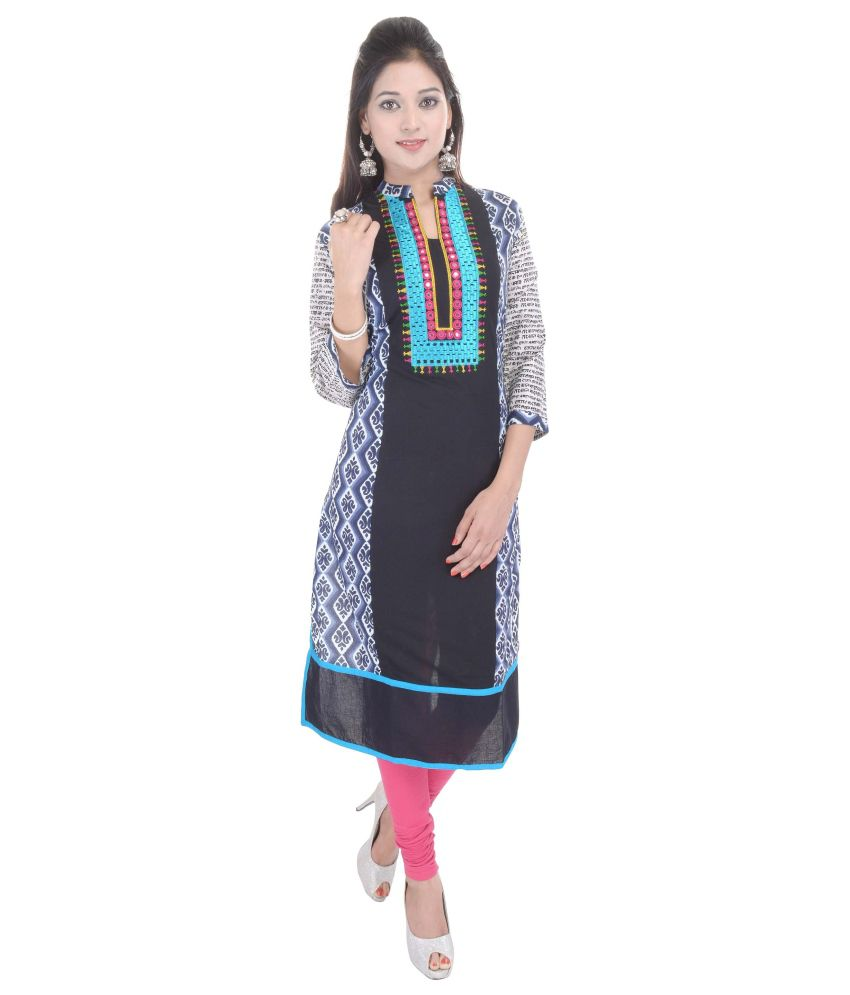 Shopping Rajasthan Black Cotton Straight Kurti