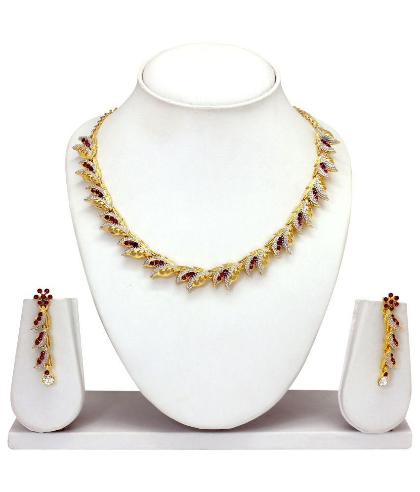 Atasi International Golden Contemporary Australian Diamonds Alloy Necklace Set