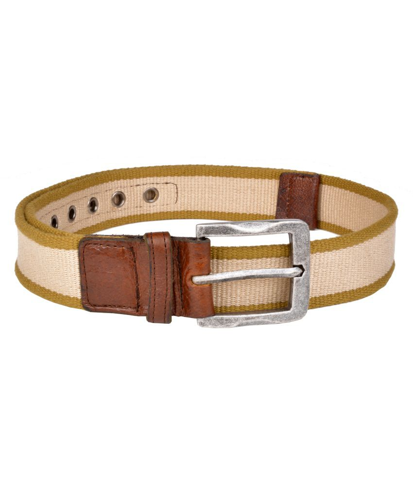 Otls Beige Canvas Belt for Men