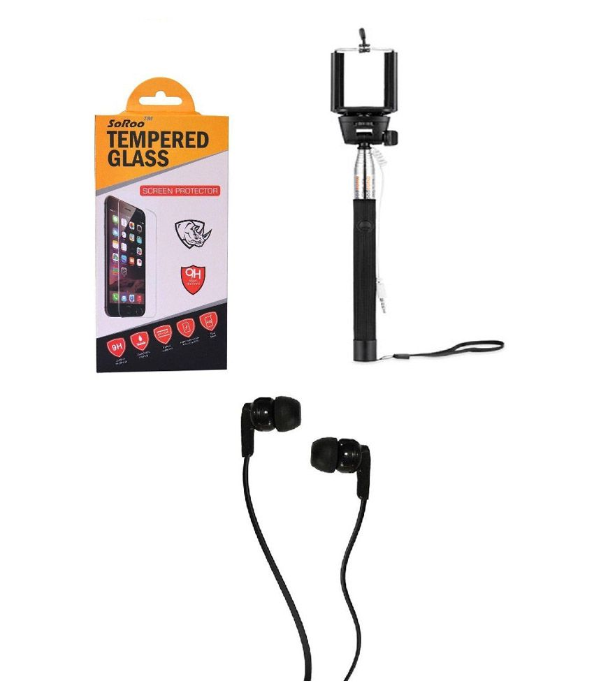 Samsung Galaxy S5 Screen Guard with Selfie Stick and Earphones by Soroo
