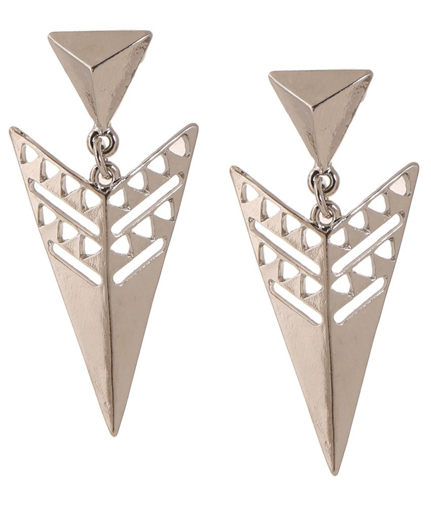 Cygnet Jewels Triangle design boho earrings in silver polish