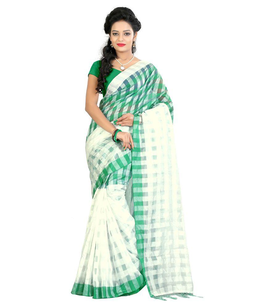 Slocky Green Cotton Saree