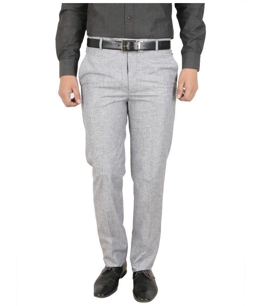 68 Back Grey Regular Fit Flat Trousers