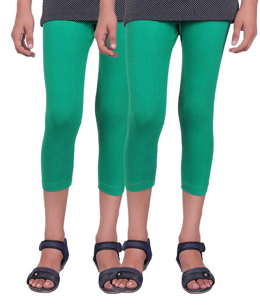 Alisha Green Cotton Capris - Pack of 2