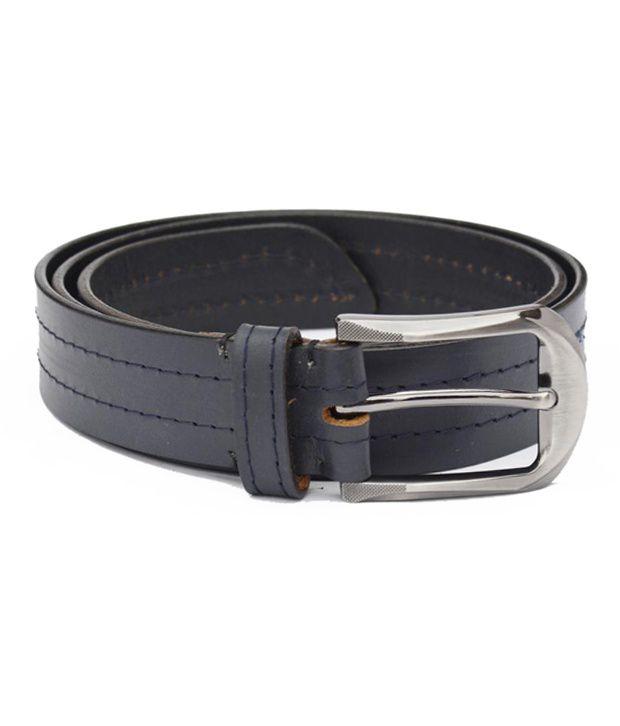 Crapgoos Blue Leather Belt for Men