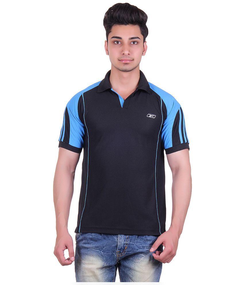 EX10 Black Sports Polo T-Shirt