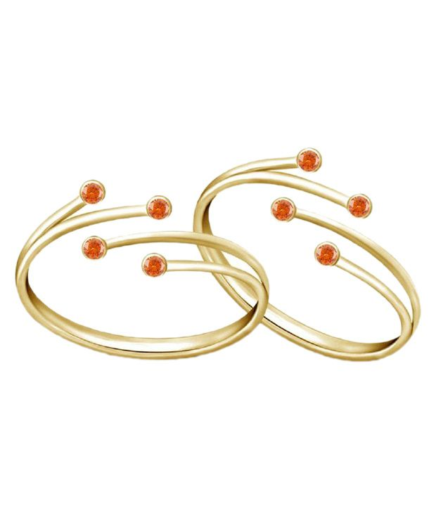 fer on Nysha Collection Silver Yellow Gold Toe Ring Set Price in