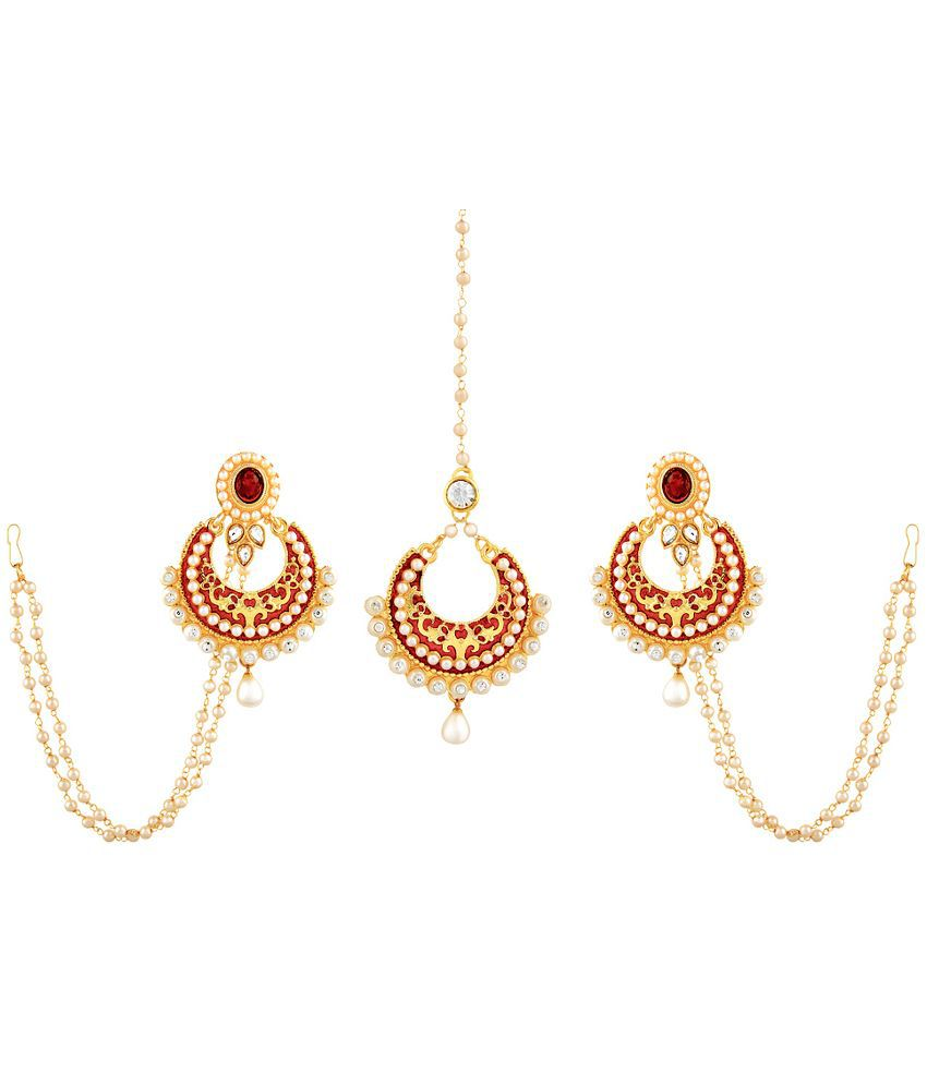 RG Fashions Jewellery Multicolor Hanging Earrings with Maang Tika