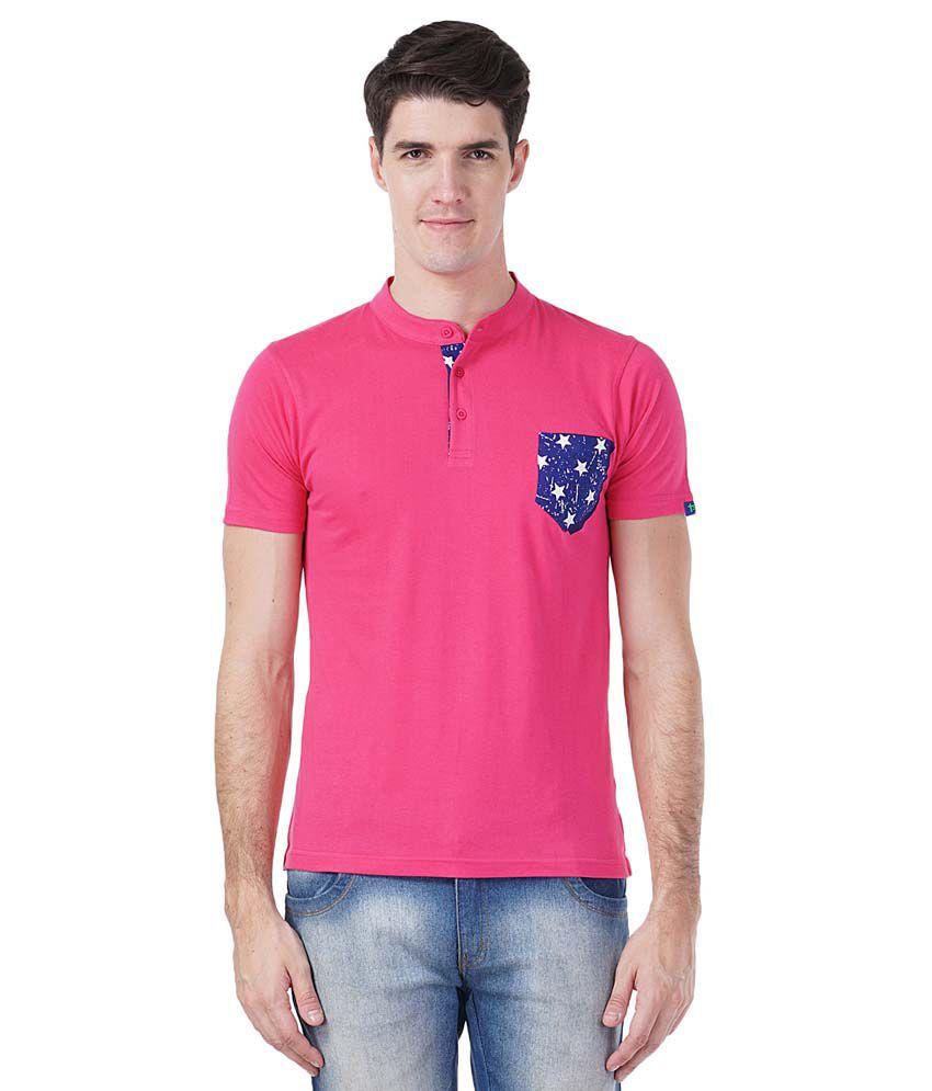 Tsavo Pink Henley T Shirt