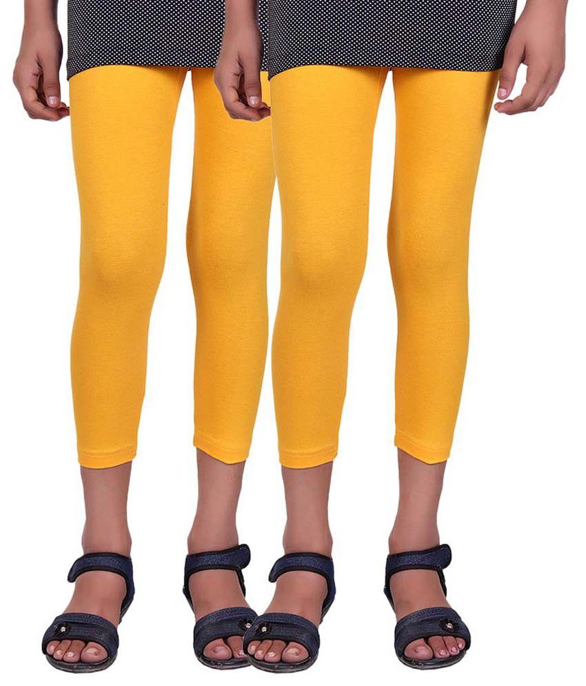 Alisha Yellow Cotton Capris for Girls - Pack of 2