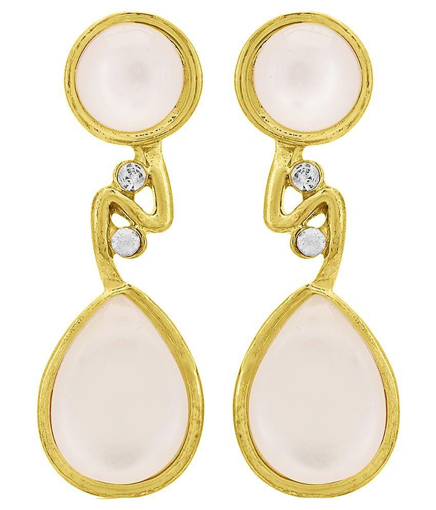 Shanti Jewellery Alloy Golden Crystal Drop Earring
